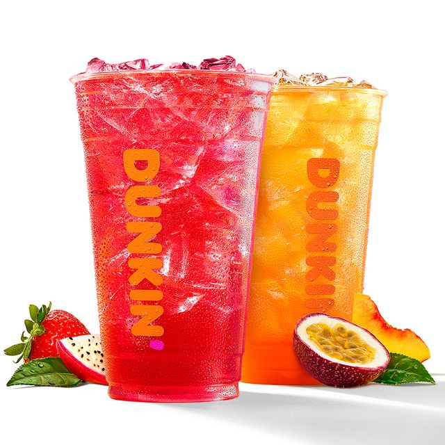 dunkin' refreshers in strawberry dragonfruit and peach passion fruit flavors