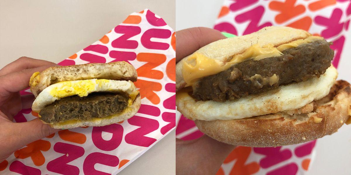 Dunkin Beyond Sausage Breakfast Sandwich Taste Test Review