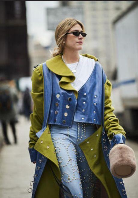 Street fashion, Clothing, Yellow, Blue, Fashion, Cobalt blue, Outerwear, Denim, Electric blue, Jeans,