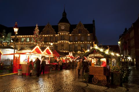Dusseldorf, North Rhine Westphalia, Germany, The old town square during Christmas