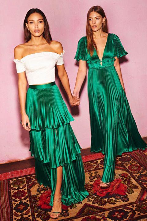 Clothing, Fashion model, Dress, Shoulder, Green, Waist, Formal wear, Gown, Day dress, Cocktail dress,
