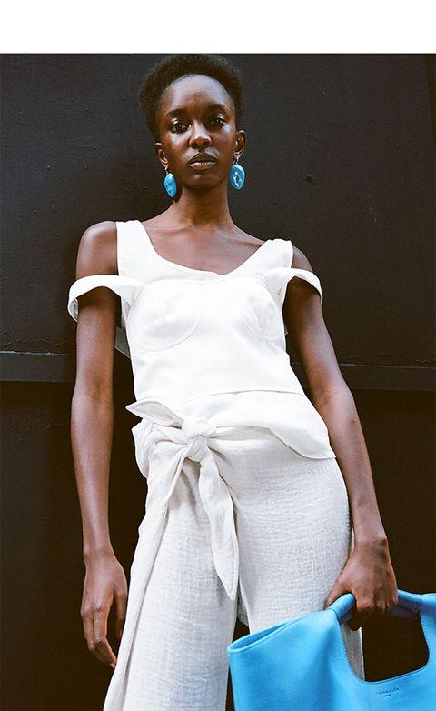 White, Fashion model, Clothing, Shoulder, Fashion, Blue, Beauty, Fashion design, Model, Dress,