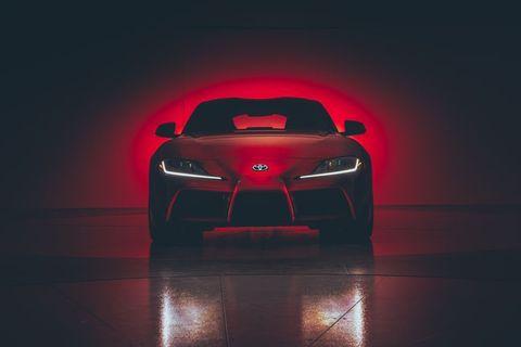 Land vehicle, Car, Vehicle, Automotive design, Red, Sports car, Concept car, Supercar, Toyota, Design,