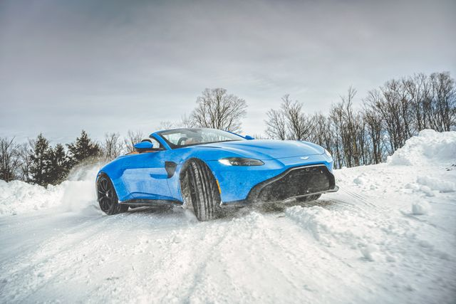 aston martin vantage roadster in snow