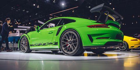 Land vehicle, Vehicle, Car, Auto show, Sports car, Supercar, Performance car, Automotive design, Porsche, Porsche 911 gt3,