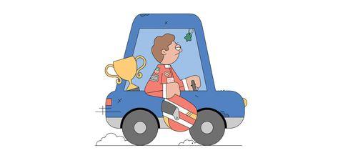 Motor vehicle, Cartoon, Mode of transport, Vehicle, Driving, Car, Illustration, Riding toy,