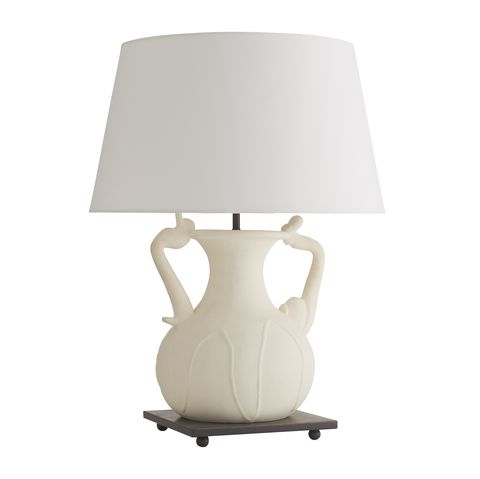 curved white ceramic lamp with white shade
