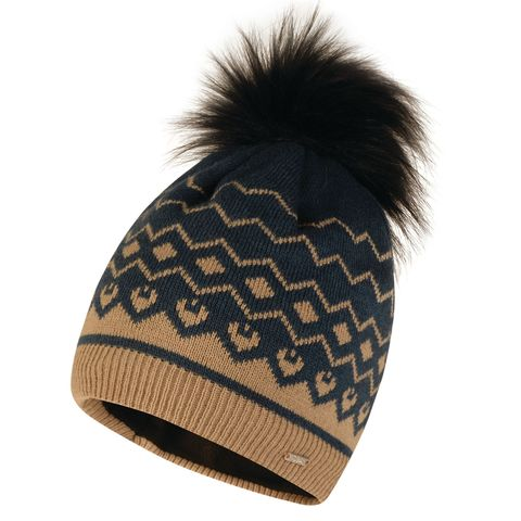 women's ski wear -Women's Coincide Bobble Beanie Hat Blue Wing