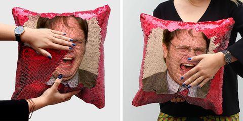 Pink, Textile, Hand, Linens, Photography, Wool, Finger, Flesh, Gesture, Pillow,