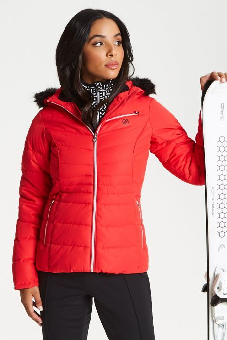 women's ski wear - Glamorize Faux Fur Trim Luxe Ski Jacket Lollipop Red