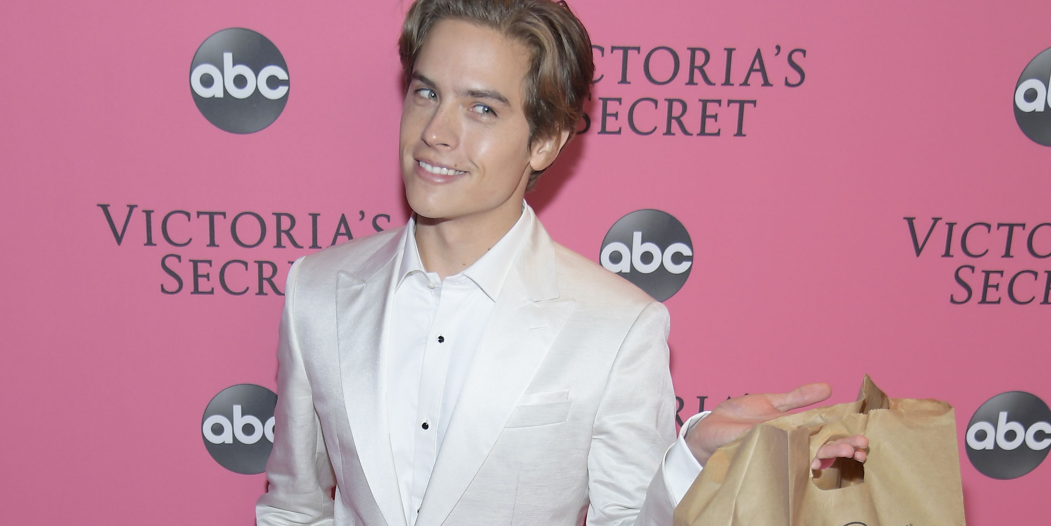 LOL, Dylan Sprouse Just Brought His Victoria's Secret Model Girlfriend Fast Food at the Show