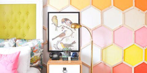 Yellow, Room, Wallpaper, Wall, Orange, Pink, Furniture, Interior design, Design, Pattern,