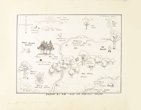 E.H Shepard_ The original map of The Hundred Acre Wood - Sotheby's