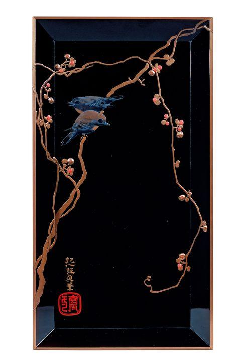 蔓梅擬目白蒔絵軸盆 ,江戸東京博物館,江戸ものづくり列伝