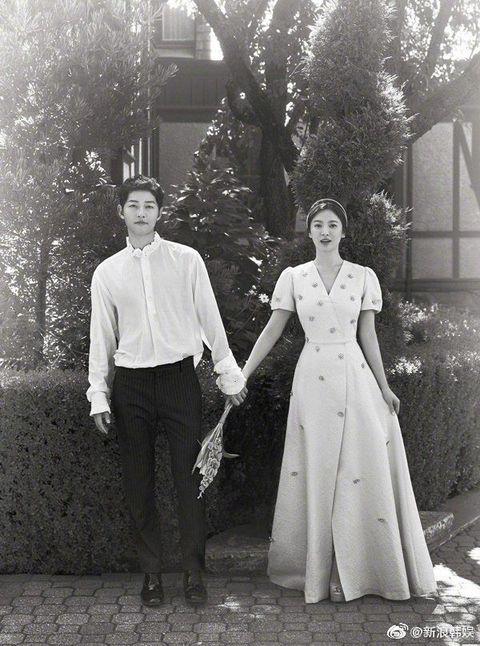 Photograph, White, People, Standing, Snapshot, Black-and-white, Vintage clothing, Wedding dress, Wedding, Monochrome photography,