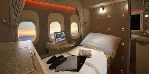 Room, Airline, Cabin, Interior design, Vehicle, Furniture, Airplane, Business jet,