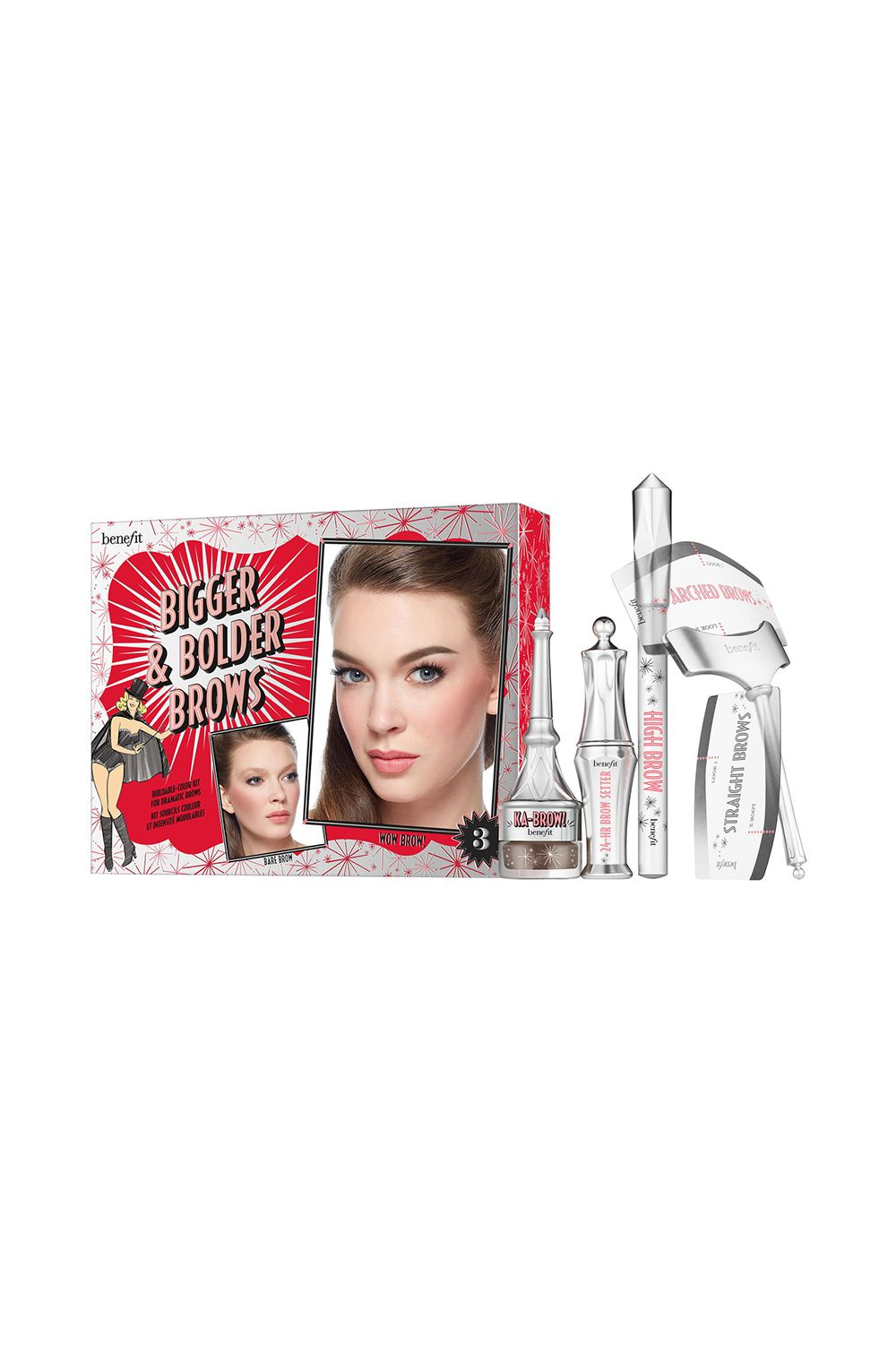 This Do-It-All Brow Kit Benefit Bigger & Bolder Brows Kit Buildable Color Kit for Dramatic Brows Are you a fan of bold brows? You need to get your hands on this kit full of everything you need to create the best-looking brows.
