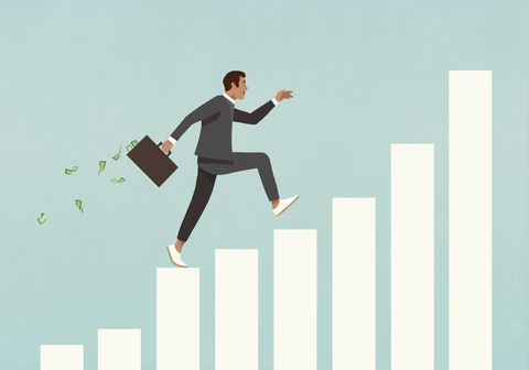 eager businessman with briefcase of money running up ascending bar graph