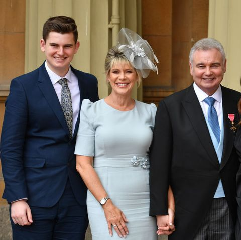 (from right) Eamonn Holmes, Ruth Langsford and their son James on James' 17th birthday.