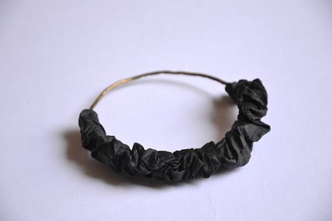 Black, Fashion accessory, Jewellery, Bracelet, Hair accessory, Textile, Leather, Metal, Hair tie, Headpiece,