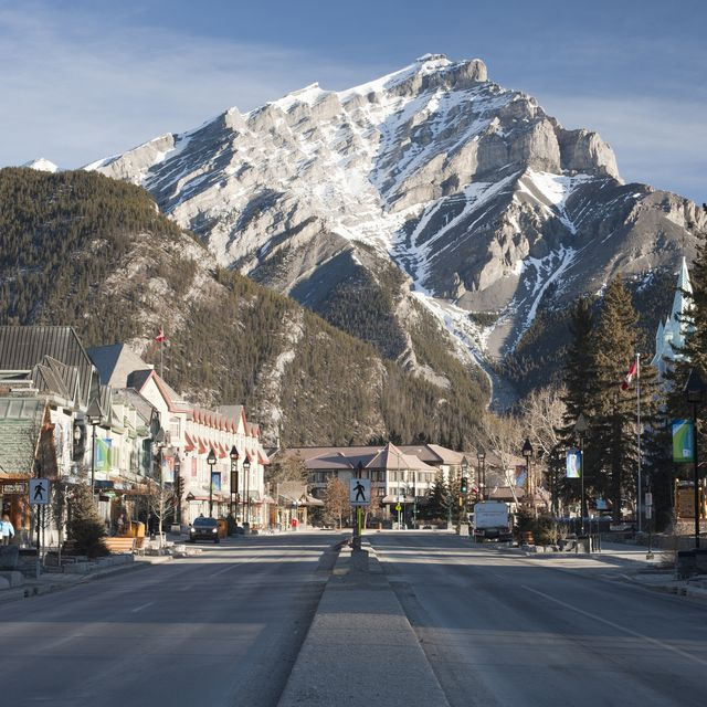 early morning in the town of banff, banff national park, the canadian rockies, alberta, canada, north america