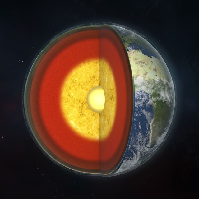 earth's internal structure, 3d illustration