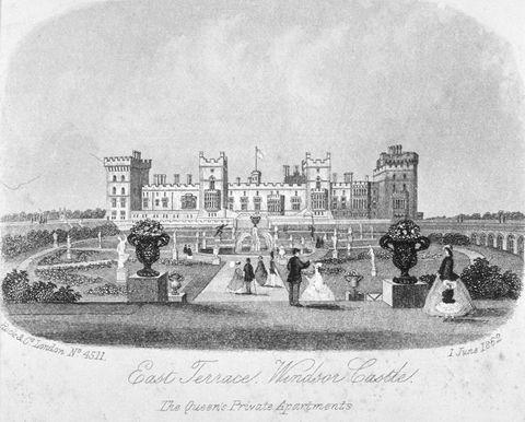 east terrace of windsor castle, berkshire, 1862 artist anon