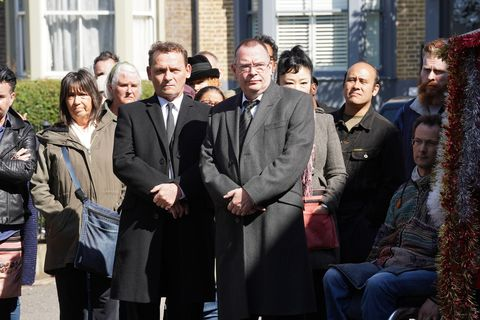 Billy Mitchell and Ian Beale on Mel's funeral day in EastEnders