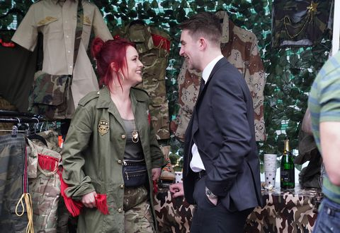 Callum Highway congratulates Whitney Dean on her new stall in EastEnders