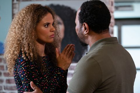 Mitch Baker reassures Chantelle Atkins about her assessment in EastEnders
