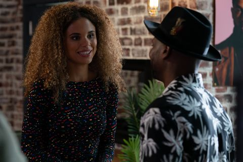 Pex arrives to give Chantelle Atkins her assessment in EastEnders