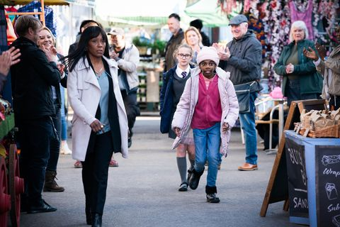 denise fox, amy mitchell and bailey baker in eastenders