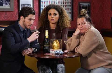 Gray Atkins, Chantelle Atkins and Karen Taylor in EastEnders