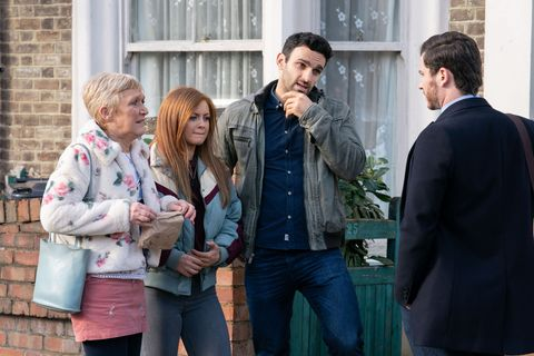 jean slater, tiffany butcher, kush kazemi and gray atkins in eastenders