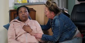 Karen Taylor checks on Dinah in EastEnders