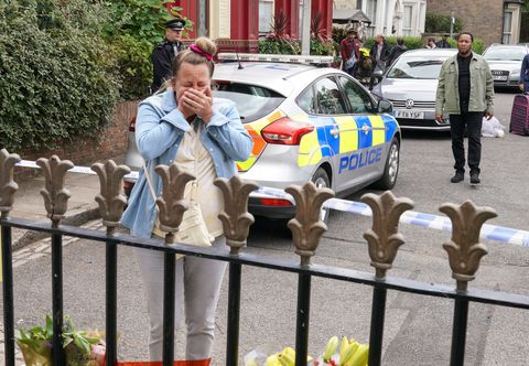 karen taylor and mitch baker return to a crime scene in eastenders