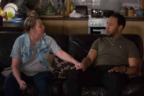 Karen Taylor and Mitch Baker worry about Bailey in EastEnders