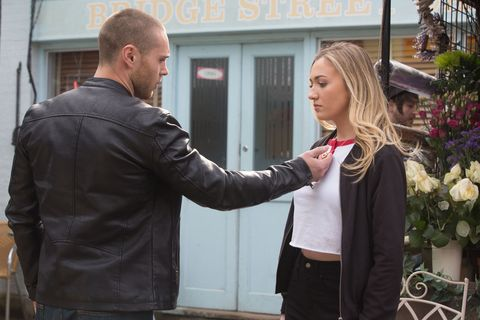 Keanu Taylor and Louise Mitchell argue in EastEnders