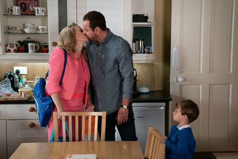 Linda and Mick Carter on Ollie's first day of school in EastEnders