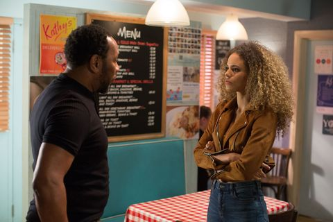 Chantelle Atkins isn't happy with Mitch Baker in EastEnders