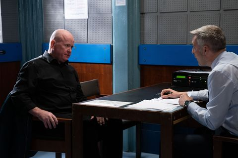 Phil Mitchell is interviewed by the police in EastEnders