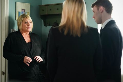 Phil Mitchell, Kathy Beale and Jay Brown in EastEnders