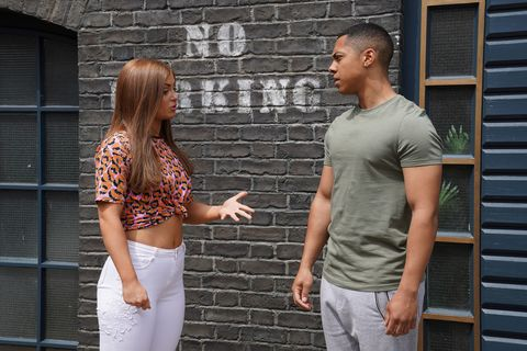 Tiffany Butcher and Keegan Baker argue in EastEnders