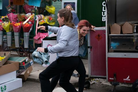Whitney Dean tries to deal with the thief in EastEnders