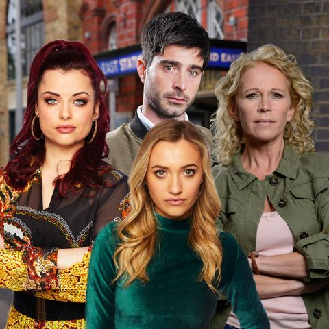 Eastenders comp, Lisa Fowler (Lucy Benjamin), Louise Mitchell (Tilly Keeper), Whitney Dean (Shona McGarty) Leo King (Tom Wells)