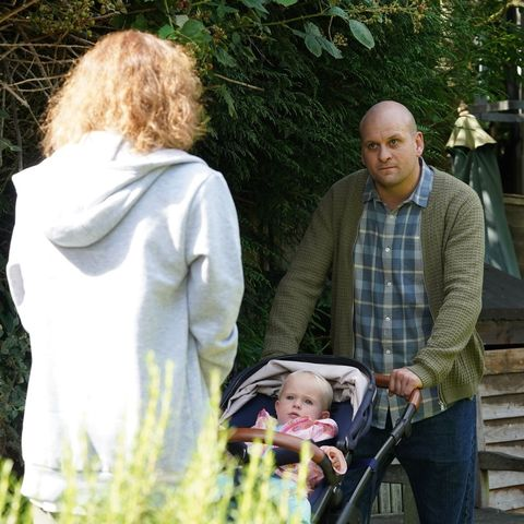 Stuart Highway and Rainie Branning with baby Abi in EastEnders