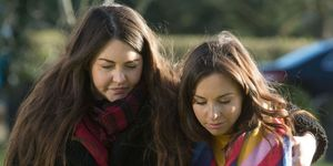 Stacey Fowler and Ruby Allen visit Archie's grave in EastEnders