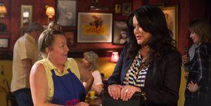 Karen Taylor and Caren in the Queen Vic in EastEnders