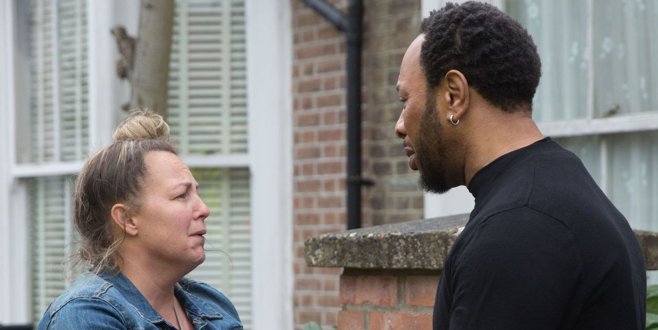 Karen Taylor and Mitch Baker are both devastated in EastEnders