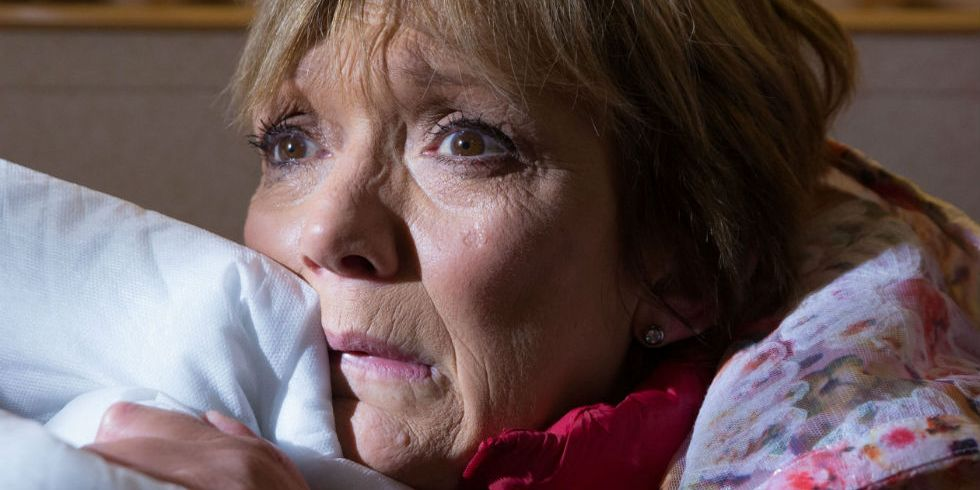 Jean Slater hides in EastEnders